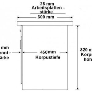 Herdunterschrank passend für das Modell,Sara 260 Buche/Weiss'