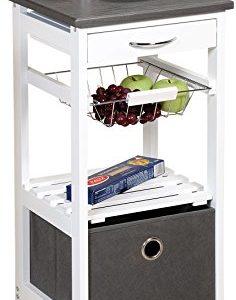 Kesper Küchenwagen Servierwagen weiß mit großer Aufbewahrungsbox