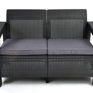 Keter Lounge Sofa, Rattan, Korfu Rattan 2-Sitzer Sofa, graphit/grau, 128x70x79 cm