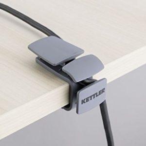 Kettler Zubehör für Schreibtische: Kabelsammler (2er-Set), Grau Plastik 6 x 4,5 x 3 cm