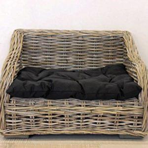 Keyhomestore Hundebett und Katze aus Bambus mit weichem Kissen aus schwarzem Baumwolle Linie Animal – 60 x 45 x 43 cm