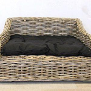 Keyhomestore Hundehütte Bett Hund und Katze in Bamboo mit weiches Kissen aus Baumwolle schwarz Linie Animal–75x 60x 45cm