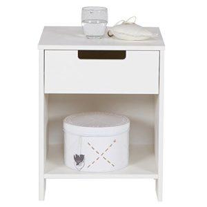 Maison ESTO Kinder Nachttisch Jade Kiefer weiß Beistelltisch Nachtschränkchen Nachtkonsole