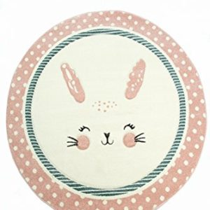 Kinderteppich Kinderzimmerteppich Babyteppich rund Hase in Rosa Weiss Türkis