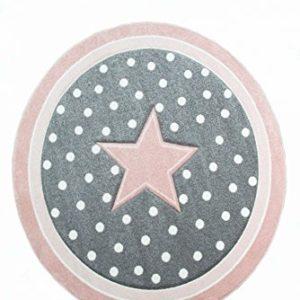 Kinderteppich Spielteppich Babyteppich rund mit Stern in Rosa Grau Weiss