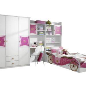 Rauch Möbel Kate Kinderzimmer Mädchenzimmer, Weiß / Motiv Prinzessin, Rosa, Gold, Set bestehend aus Kleiderschrank, Bett…