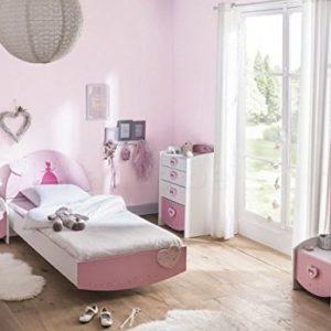 Kinderzimmer Lotte 4-TLG weiß/rosa Bett Kommode Nachtkommode Frisiertisch Kinderbett Nachtschrank Nako Mädchen…