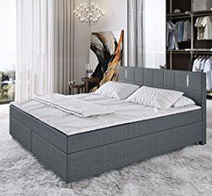 'King' Boxspringbett 180x200cm LED Bett Doppelbett Komplettbett Hotelbett Stoff – grau
