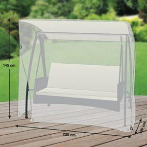 Klassik Schutzhülle für Gartenschaukel/Hollywoodschaukel aus PE-Bändchengewebe – transparent – von 'mehr Garten' – für 3-Sitzer (Breite: max. 220cm)
