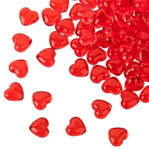 Kleenes Traumhandel 100 rote Acryl Herzen mit 12 mm Durchmesser – Dekosteine Tischdekoration für Hochzeit und Verlobung – Ideale Streudeko