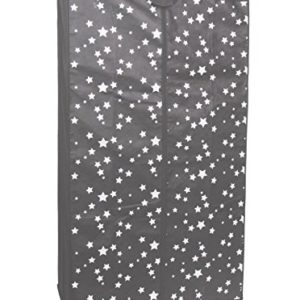 Kleiderschrank PRO ART 3396 STAHLGRAU mit weißen STERNEN 160 x 88 x 45 cm Regalsystem Stoffschrank Faltschrank Garderobenschrank Kinderzimmerschrank mit Kleiderstange für Kleidung, Spielzeug , Schuhe & Bücher