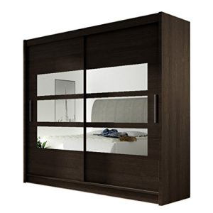 Kleiderschrank mit Spiegel London III, Schwebetürenschrank, Schiebetürenschrank, Modernes Schlafzimmerschrank 180x215x57cm, Garderobe, Schlafzimmer (Choco)