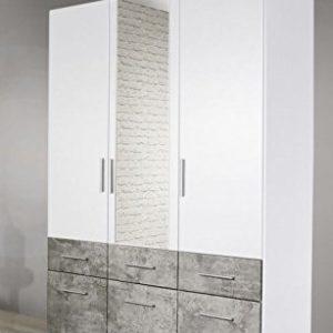 Kleiderschrank weiß / grau 3 Türen B 136 Schrank Drehtürenschrank Wäscheschrank Spiegelschrank Kinderzimmer Jugendzimmer Schlafzimmer