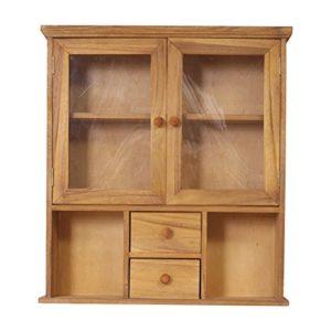 Rebecca Mobili Wandvitrine, Standvitrine mit 2 Schubladen und 2 Türen, dunkeles Holz Plexiglas, Shabby-Stil, für Küche Flur – Maße: 62 x 56 x 15 cm (HxLxB) – Art. RE4199