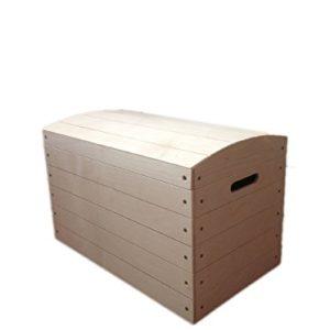Spielzeugtruhe, Piraten-Schatztruhe, Holz, unlackiert, Deckel, 56,5 x 33 x 36,5cm