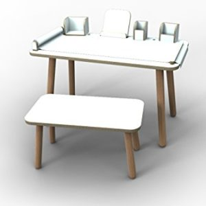 "Komplett SET ""growing table"" Kindertisch + Sitzbank + alle Tools von Pure Position – weiß beschichtet"