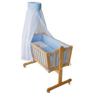 Komplette Babywiege Babybett Stubenwagen Schaukelwiege Wiege Babybett hellblau 51365-01