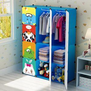 Koossy Erweiterbares Kinderregal Kinder Kleiderschrank mit Karikatur für Kinderzimmer