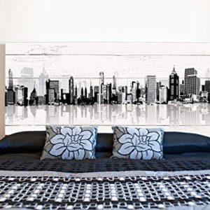 Kopfteil Bett PVC Gebäude mit Schatten | Verschiedene Maße 100x60cm | Einfache Platzierung | Raumdekoration…