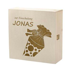 polar-effekt Aufbewahrungsbox mit Gravur – Große Holzkiste mit Deckel Natur 27x27cm – Personalisierte Geschenkidee zur…