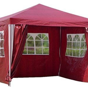 Kronenburg Pavillon PE Gartenzelt mit 4 Seitenteilen in Rot – Testsieger Preis-Leistung