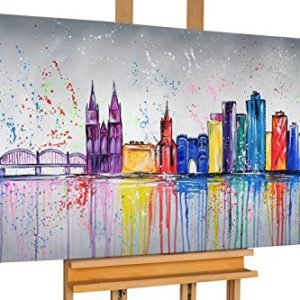 KunstLoft® Acryl Gemälde 'Colonia variopinta' 140x70cm   original handgemalte Leinwand Bilder XXL   Köln Stadt Skyline Bunt   Wandbild Acrylbild Moderne Kunst einteilig mit Rahmen