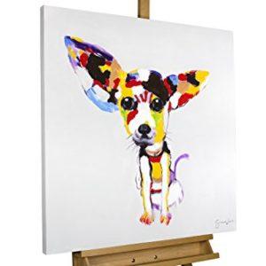 KunstLoft® Acryl Gemälde 'Der Hundeblick' 80x80cm | original handgemalte Leinwand Bilder XXL | Bunter Chihuahua Hund für Kinder Kinderzimmer & Babyzimmer | Wandbild Acrylbild moderne Kunst mit Rahmen