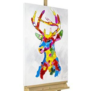 KunstLoft Acryl Gemälde 'Kunterbunter Platzhirsch' 60x90cm | original handgemalte Leinwand Bilder XXL | Bunter Hirsch mit Geweih für die Wand | Wandbild Acrylbild moderne Kunst einteilig mit Rahmen