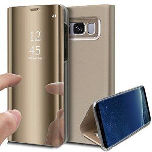 KunyFond Überzug Spiegel Hülle für Samsung Galaxy S8 Plus PU Leder Tache Brieftasche Schutzhülle Durchsichtig Clear View Handyhülle Ledertasche Flip Wallet Cover Standfunktion Schale Case (Gold)