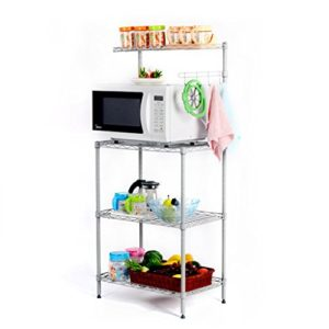 LANGRIA Mikrowellenhalter Küchenregal 3 Ablage Regal Bäcker Regal, Silber-Grau [Zurück zur Schule]