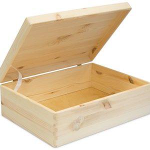 LAUBLUST Große Holzkiste mit Deckel – 40x30x14cm, Natur, FSC® | Allzweck-Kiste aus Holz – Aufbewahrungskiste | Geschenk-Verpackung | Deko-Kasten zum Basteln | Spielzeug-Truhe | Erinnerungsbox