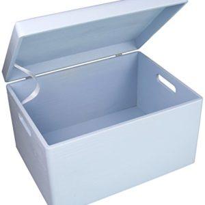 LAUBLUST Große Holzkiste Deckel und Griffe – 40x30x24cm, Blau, FSC® | Allzweck-Kiste aus Holz – Aufbewahrungskiste…