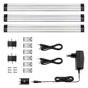 LE 3er LED Unterbauleuchte Schrankleuchte, 12V DC, LED Schrankbeleuchtung mit Stecker, ultra dünne Vitrinenbeleuchtung, Energiesparende Küchenlampen, Alle Zubehör inkl.