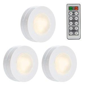 Schrankbeleuchtung, Lunsy RGB Schrankbeleuchtung mit Fernbedienung & manuelle Steuerung,LED Nachtlichtdimmbares rundlich für Schränke Küche Schlafzimmer (16 Farben)