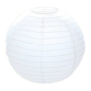 lantu Creative Lampenschirm rund weiß Papier Classic Bamboo Style Gerippter Lampenschirm, 10pcs* 20cm / 8″