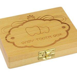 Leisial Aufbewahrungsbox Aufbewahrung von Souvenir Box Zahndose Holz Zahn-Organizer Box für Kinder Mädchen Baby Buchstaben Englisch, 1pc