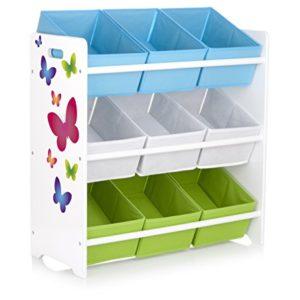Leomark Holzregal, Regal für Spielzeug. Motiv: Schmetterlinge. Aufbewahrungsregal, Spielzeugregal, Kinderregal, Spielzeugablage mit 9 Schubladen