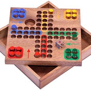 Ludo Gr. M – Würfelspiel – Gesellschaftsspiel – Familienspiel – Brettspiel aus Holz mit Steckern