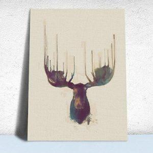 MINRAN DECOR A Premium Kunstdruck Wand-Bild – elk CP201 – Leinwand-Druck – Leinwand-Bilder auf Holz-Keilrahmen als moderne Wanddekoration, 3, 30*25CM