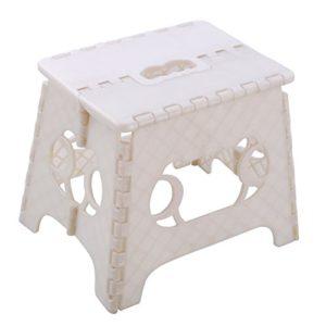 MSV Klapphocker Sitzhocker Tritthilfe Tritthocker 33 x 26 x 27 cm Weiß