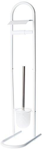 MSV Stand WC Garnitur WC Bürste Toilettenbürste Klobürste aus Edelstahl Weiß 15,7x29x79cm