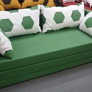 Manfred Söllner Fussball Möbel Schlafsofa Couch Sofa Fussball Look weiss grün