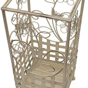Maribelle – Wanderstock- und Schirmständer – Florales Design – Metall – Weiß mit Antik-Finish