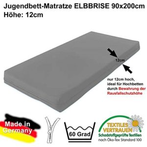 ELBBRISE Marken-Hochbett-Kindermatratze Jugendmatratze, 90x200x12cm, ÖKOTEX-100, Made IN Germany