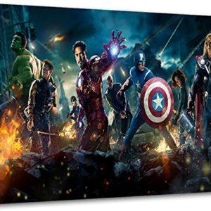 Marvel Helden Bild auf Leinwand, XXL riesige Bilder fertig gerahmt mit Keilrahmen, Kunstdruck auf Wandbild mit Rahmen