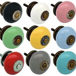 Möbelknöpfe aus Keramik – Set mit 9 verschiedenen Farben