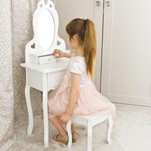 Mädchen Schminktisch Weiß mit Spiegel & Hocker für Kinder | Kleiner Kindertisch, Ideal für Mädchen 3-7 Jahre…
