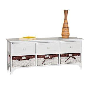 Melko Sitzbank-Kommode mit Stauraum 3 Körbe + 3 Fächer weiß/rosa Landhaus Stil + Kissen