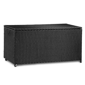 Merax Kissenbox aus Wasserdicht Polyrattan, Auflagenbox Gartenbox Gartentruhe Aufbewahrungsbox, Sitzbank, L 118 cm x B 59 cm x H 54 cm, 320 L