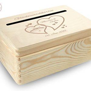 MidaCreativ kleine Holz-Geschenkbox Hochzeit Briefbox (BB4) Geldgeschenke incl Lasergravur – optional auch abschließbar